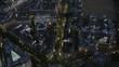 Aerial night view Trafalgar Square and London cityscape
