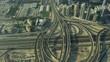 Aerial view overhead Dubai road junction Sheikh Zayed