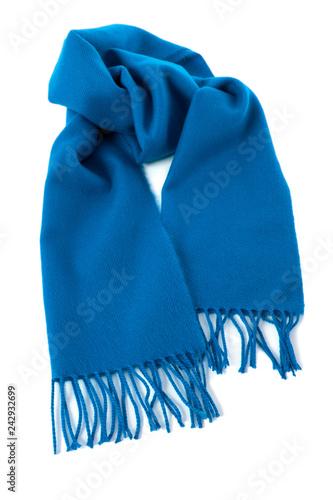 Valokuvatapetti Blue winter scarf isolated white background