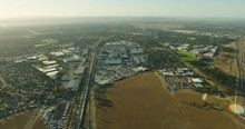 Aerial View Along Tullamarine Freeway At Sunrise Melbourne