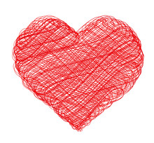 Red Scribble Heart Isolated On White Background