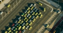 Aerial View Melbourne Airport Taxi Rank At Sunrise