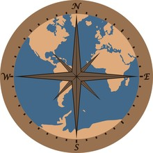 Map Of The Globe With The Cardinal Points. Color Illustration