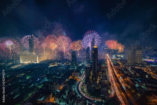 Deurstickers Stad gebouw Bangkok firework happy new year 2019