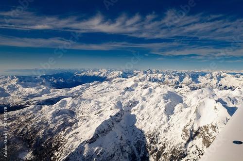 Fototapeta Triglav in Julian Alps in winter, aerial landscape obraz