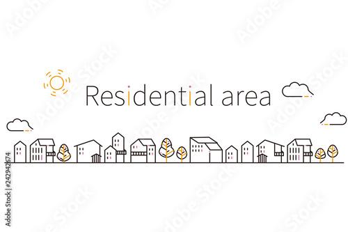 Slika na platnu 3色の線画の住宅街 黒基調