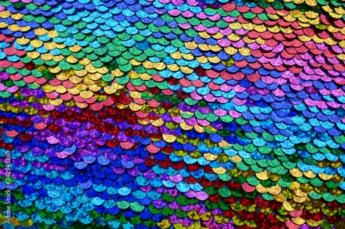 da35a0c6 Sequins macro background.Multicolored sequins.Rainbow. Scales background.  Paillette fabric background.