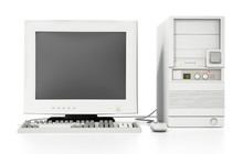 Generic Vintage 90's Style Computer Isolated On White. 3D Illustration