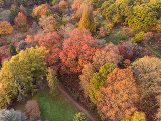 Stunning aerial drone landscape image of stunning colorful vibrant Autumn Fall English countryside landscape