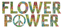 Word FLOWER POWER With Peace Sign. Vector Decorative Zentangle Object