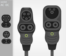 Electric Car Ev Type 1 And Type 2 Combo Charger Connectors Witch Sockets