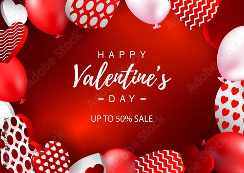 Fotografiet  Valentines Day horizontal sale banner