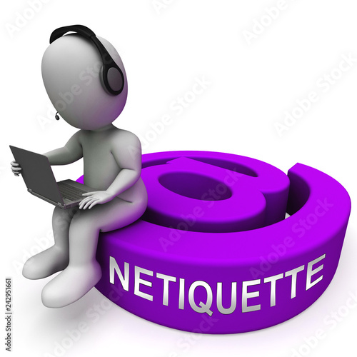 Netiquette Polite Online Behavoir Or Web Etiquette - 3d Illustration Canvas-taulu