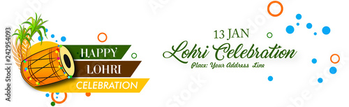 Photo  Lohri celebration with Crop and borfire text with white background with typography