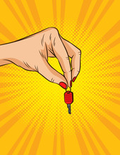Color Vector Illustration In Pop Art Style. Female Hand Holds Keys To The Vehicle. The Hand Of The Owner Passes The Key. Advertising Poster About Renting Or Selling A Car Or House For The New Customer