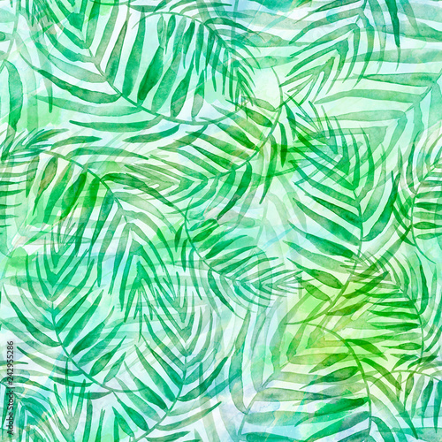 Fotobehang Tropische bladeren Seamless watercolor background from green tropical leaves, palm leaf, floral pattern. Bright Rapport for Paper, Textile, Wallpaper, design. Tropical leaves watercolor. Exotic tropical palm tree