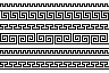 Greek Fret Repeated Motif. Meander. Vector Seamless Pattern. Simple Black And White Background. Geometric Shapes. Textile Paint. Repetitive Background. Fabric Swatch. Wrapping Paper. Texture