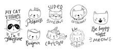 Set Of Cartoon Cats In Funny C...