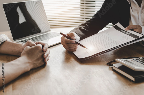 Fotografie, Tablou  legal consultants, notary or justice lawyer discussing contract document and lap