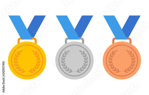Fototapeta Gold, silver and bronze medals with blue ribbon flat vector icons for sports app