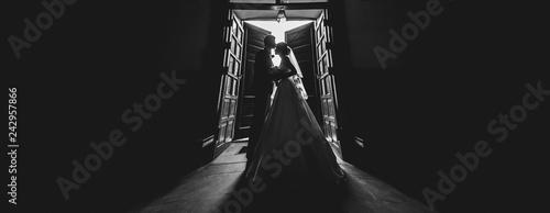 Fototapeta wedding couple silhouette
