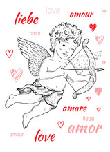 Valentine S Day Card Design With Cupid Angel, Word Love On French, Spanish, German. Cute Doodle Hand Drawn Vector Illustration, Romantic Poster, Fashion T-shirt Print. Isolated On White Background