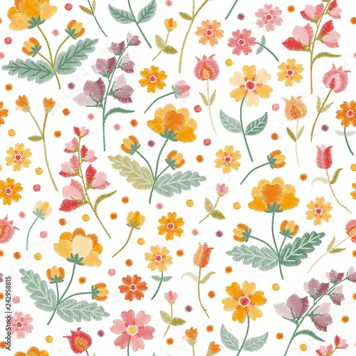 e52ad0d494e60 Embroidery summer meadow. Seamless ditsy floral pattern with ...