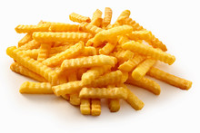 Heap Of Crispy Golden Crinkle Cut Potato Chips