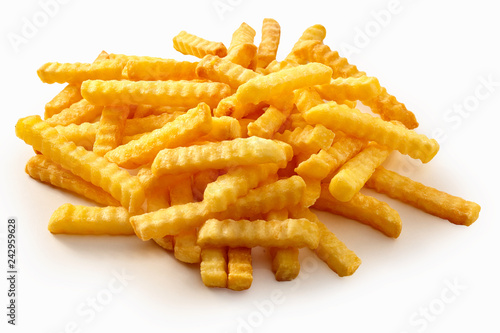 Fotografia, Obraz  Heap of crispy golden crinkle cut potato chips