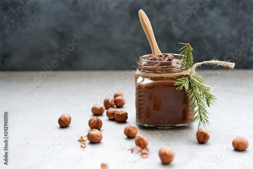 Valokuva  Nutella homemade pasta or chocolate spread