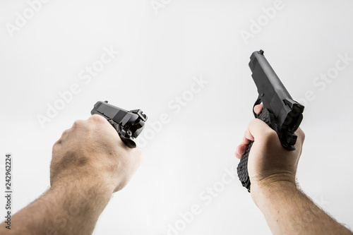 first person shooter pistol Canvas Print