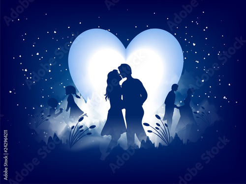 Love Greeting Card Design Romantic Silhouette Of Loving Couple On Night View Background Can Be Used As Valentine S Day Banner Design Buy This Stock Vector And Explore Similar Vectors At Adobe