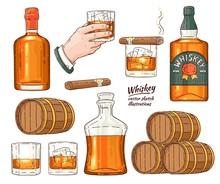 Vector Whiskey Symbols Set. Gl...
