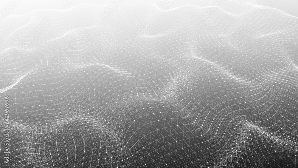 Fototapeta Abstract polygonal space. Network connection structure. Digital data visualization. Big data digital background. 3d rendering.