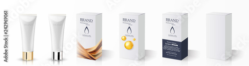 Slika na platnu Cream tube and packaging. Ointment or toothpaste box mockup
