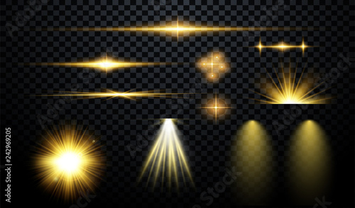 Obraz  Set of flashes, lights and sparks. Abstract golden lights isolated on a transparent background. Bright gold flashes and glares. Bright rays of light. Glowing lines. Vector illustration. - fototapety do salonu