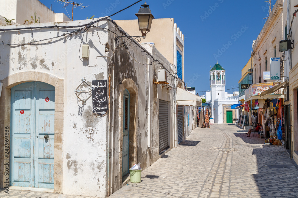 MAHDIA / TUNISIA - JUNE 2015: Street in medina of Mahdia, Tunisia