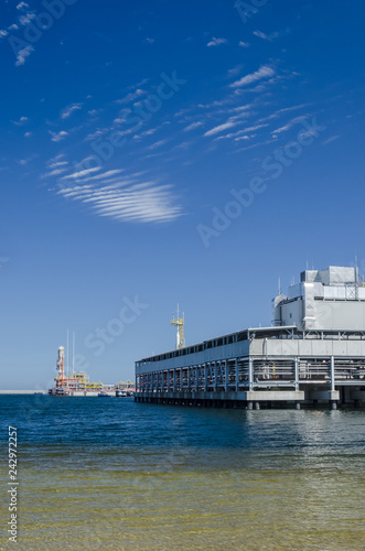 Tuinposter Poort LNG TERMINAL - Infrastructure of the wharf in Swinoujscie for the gas tanker