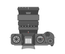 Digital Mirrorless Camera. Top View With Lense. Flat Vector Illustration. Beautiful Classic Looks Professional Device For Photography And 4K Video With APS-C Sensor.