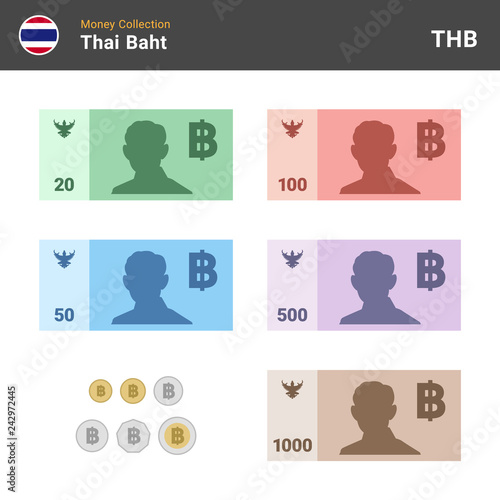 Valokuvatapetti Thai baht banknones and coins