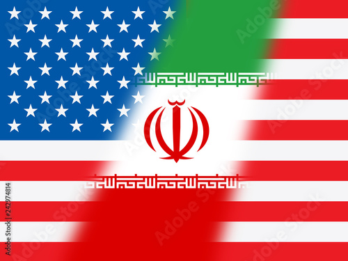 Fotografie, Obraz  Us Iran Conflict And Sanctions Or Agreement Flag - 2d Illustration