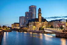 Malmo, Sweden. Beautiful Cityscape With Canal And Skyline At Dusk