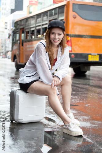 beautiful Young Asian women tourist traveler smiling in
