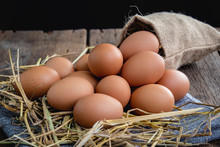 Chicken Eggs Placed On A Straw