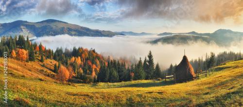 Foto op Canvas Bergen picturesque sunrise in the Carpathian mountains. autumn foggy morning