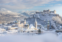 Panorama Of Salzburg In Winter...