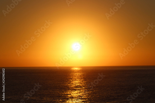 Photo Stands Cuban Red Golden Sunset on Orange Sea