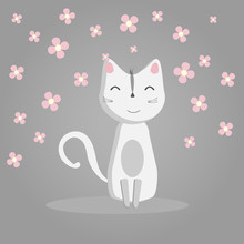 Happy Funny White Cat On A Gray Background, Pink Flowers, Domestic Cat