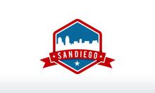 San Diego City Skyline Logo Ba...