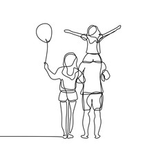 Happy Family Continuous Line Drawing Vector Illustration Isolated On White Background